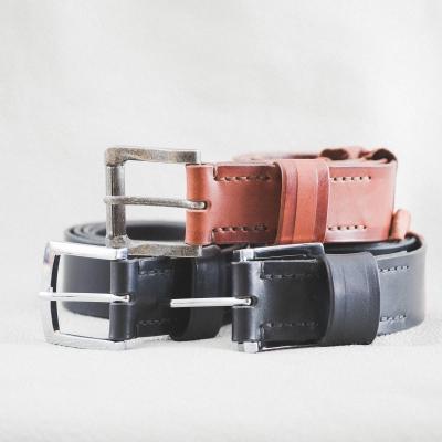 DELeather ceintures cuir noir & châtaigne cousues