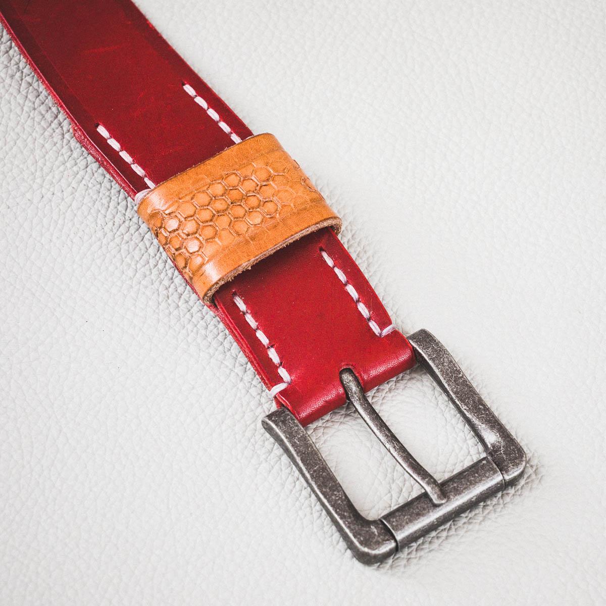 ceinture cuir rouge et passant naturel, cousue main